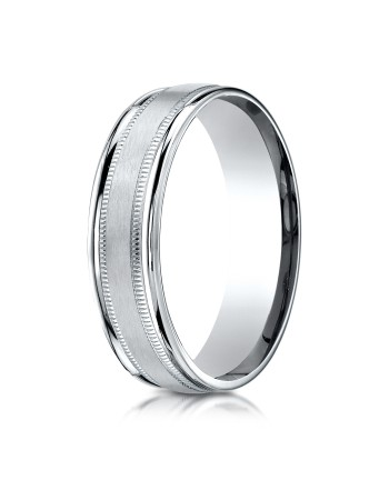 14k white gold double miligrain ring with satin center.