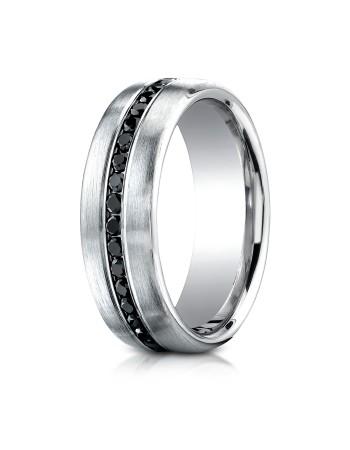 14k .40 ct black diamond set in white gold center ring