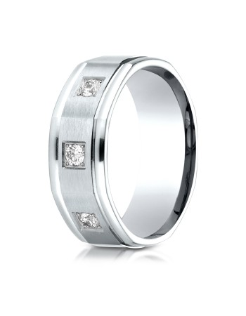 14k .25 ct 3 diamond flat plane mens white gold ring