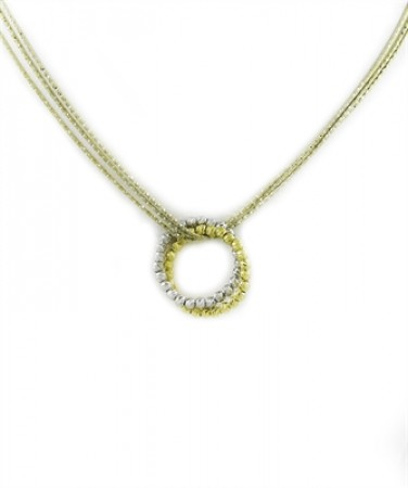 .925 Diamond cut two tone intertwining cirlce necklace.