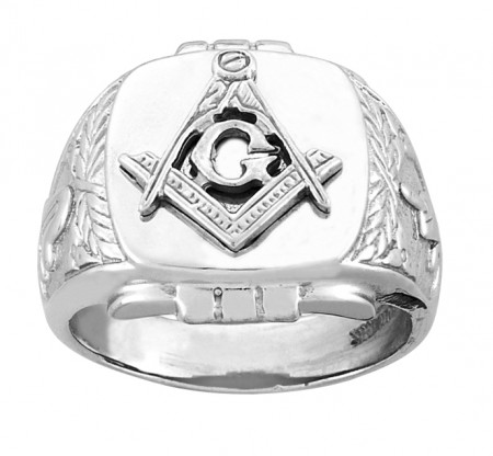 White gold ornate Mason ring