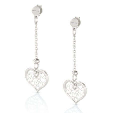 Romantica Earrings w/ Two Hanging Hearts