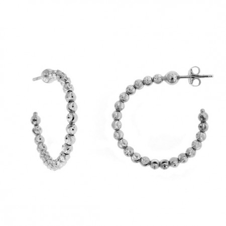 .925 Diamond Cut Beaded Earrings