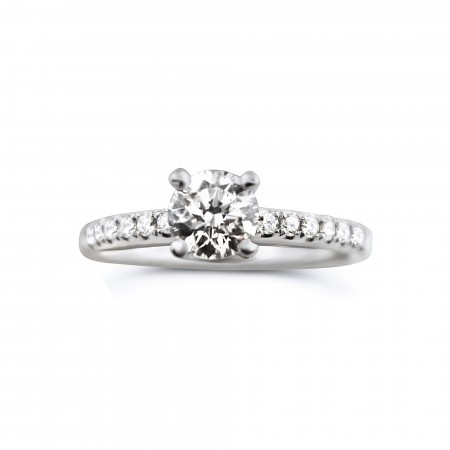 18k white gold classic engagement ring