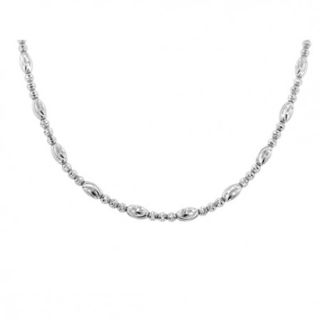 .925 Round and Oval Diamond Cut bead Necklace