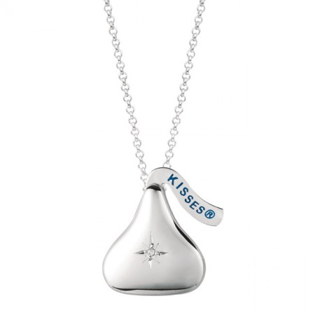 Sterling Silver Hershey's Kiss Necklace, Diamond Accent Locket Pendant
