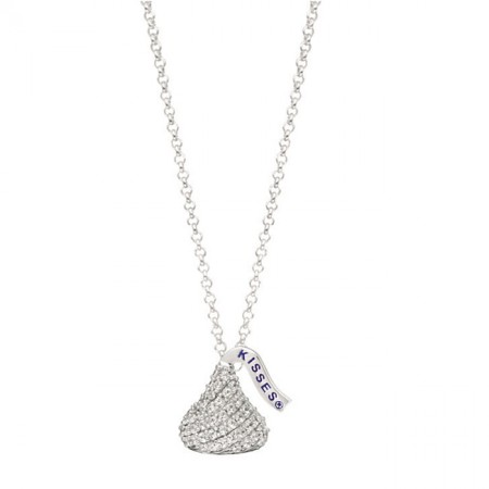 Sterling Silver with CZ Small Flat Back Shaped Hershey's Kiss Pendant