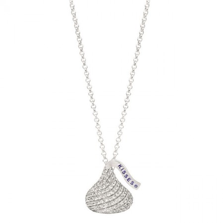 Sterling Silver with CZ Medium Flat Back Shaped Hershey's Kiss Pendant