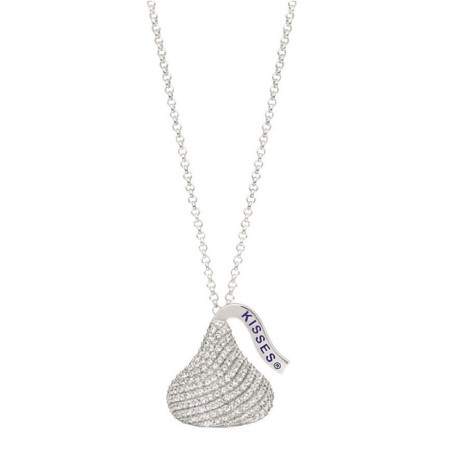 Sterling Silver with CZ Large Flat Back Shaped Hershey's Kiss Pendant