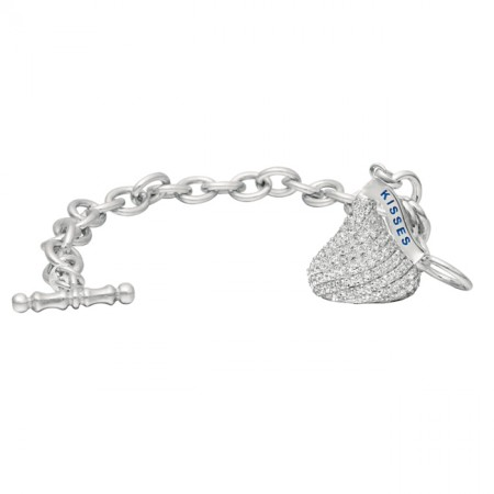 Sterling Silver with CZ Medium Flat Back Shaped Hershey's Kiss Bracelet with One Hershey's Kiss Charm