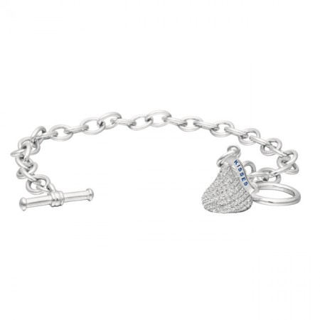 Sterling Silver with CZ Small Flat Back Shaped Hershey's Kiss Bracelet with One Hershey's Kiss Charm