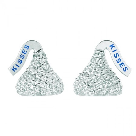 Sterling Silver Small with CZ Flat Back Shaped Hershey's Kiss Stud Type Earrings