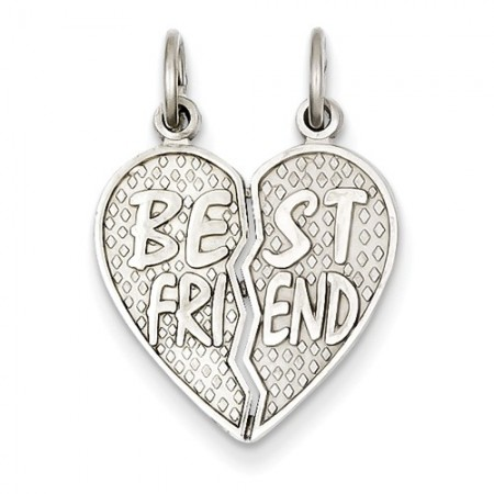 14k white gold 'Best Friend' 2-piece breakaway pendant
