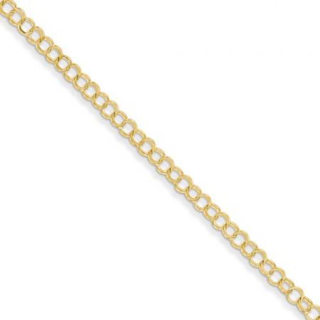 14k Solid Double Link Charm Bracelet