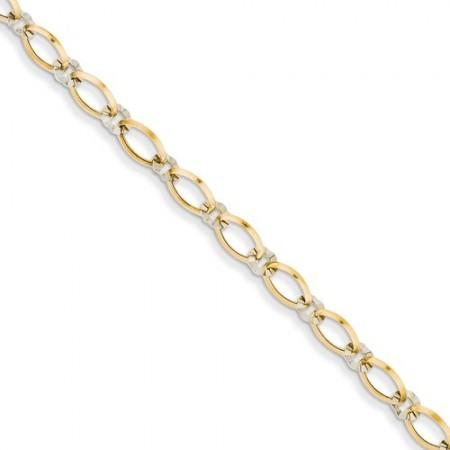 14K Two-Tone Oval And Diamond Cut Circle Bracelet