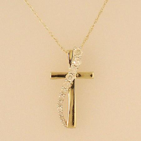 Yellow Gold Diamond Journey Cross