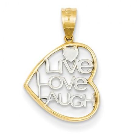 14K Live Love Laugh charm