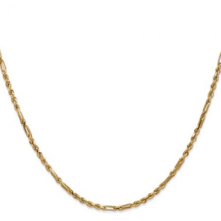 """14k 2.5mm 18"""" Milano Rope chain"""