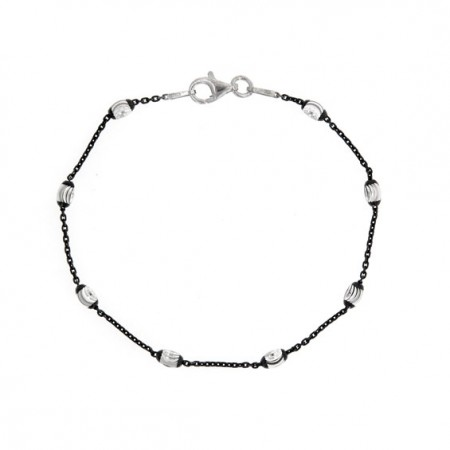 .925 single row black rhodium cable link and oval bead bracelet