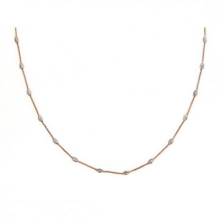 .925 Single row two tone Diamond Cut bead Necklace