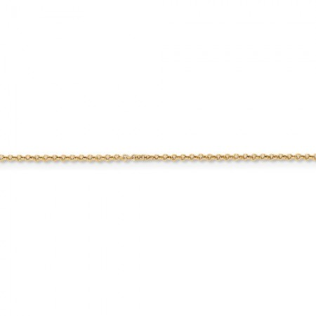 "Here is our 14k yellow gold 1mm 18"" Cable link chain"