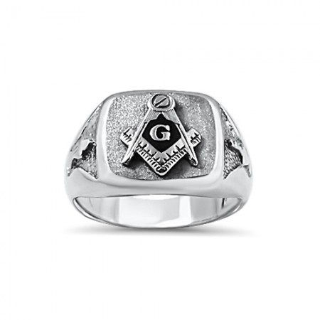 Sterling Silver  brushed top Masonic ring