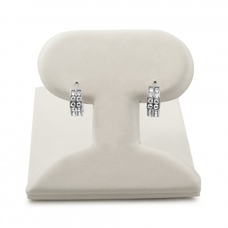 14k white gold double row huggie earrings