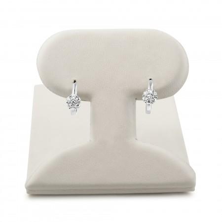 Gemstone flower center huggie earrings