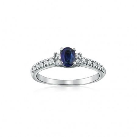 14k White Gold Oval cut Sapphire & Diamond ring