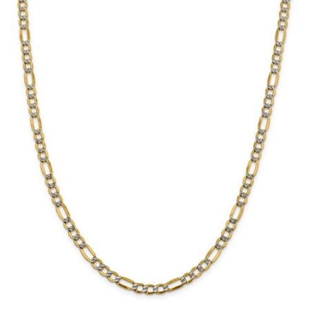 "14k 20"" 3.9mm Semi-Solid Pavé Figaro Chain"