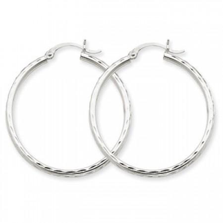 White gold diamond cut hoops