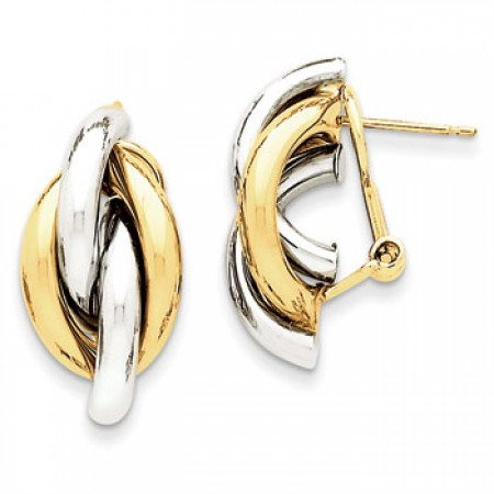 Two tone omega back earrings