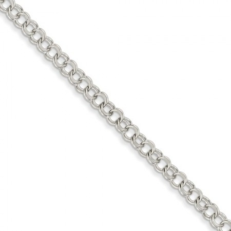 14k White Gold Solid Double Link Charm Bracelet