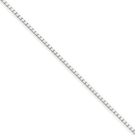 """14k white gold18"""" long 1.1 mm wide Box Link Chain"""
