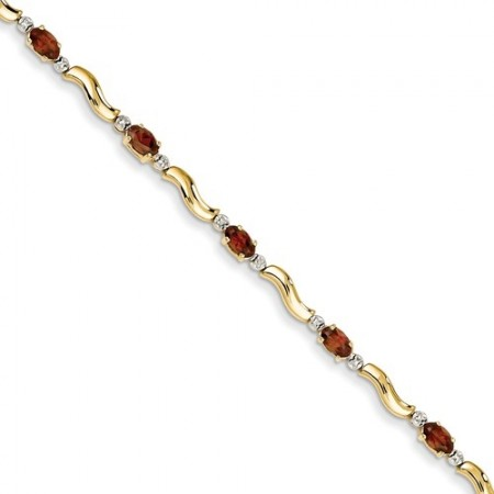 14k Completed Fancy Diamond/Garnet Bracelet