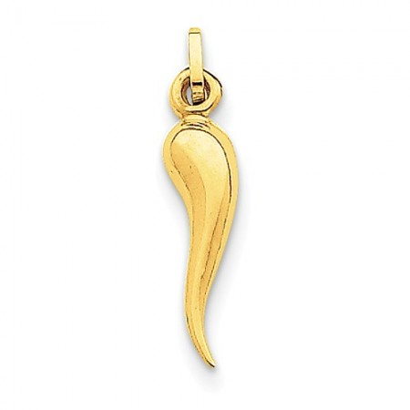 14k Yellow Gold Italian Horn Charm