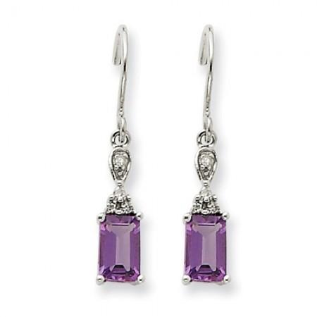14k White Gold Amethyst And Diamond Dangle Earrings