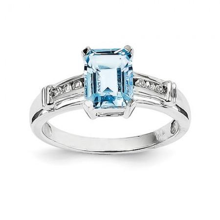 14k White Gold Blue Topaz And White Topaz Square Ring