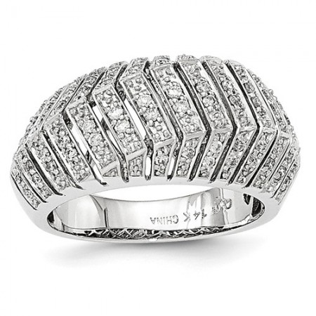 14K White Gold Diamond Pavé Ring