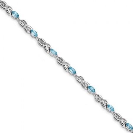 14k White Gold 0.05ct Diamond And 3ct. Blue Topaz 7.25in Bracelet