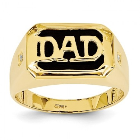 14k AA Yellow Diamond Men's Onyx Dad Ring