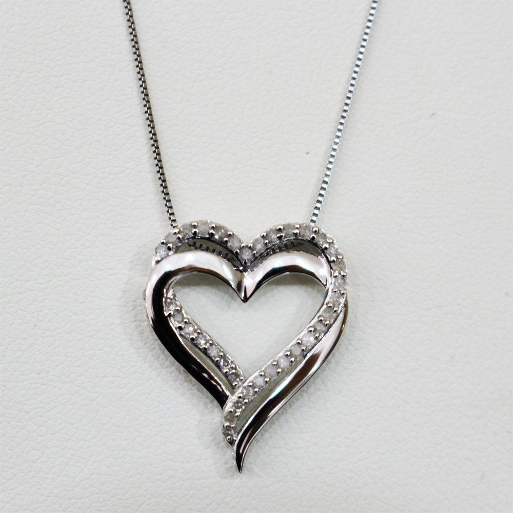 Sterling silver and diamond two hearts as one necklace aloadofball Image collections