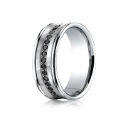 14k .32ct black diamond concave mens white gold ring