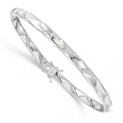 14k White Gold Polished Twisted Bangle