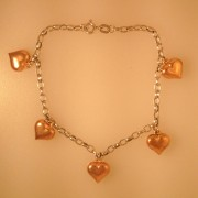 Two Tone Hanging Heart Charm Bracelet