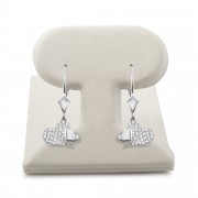 14k White gold Lever back heart hanging earrings