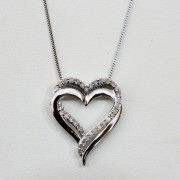 Sterling Silver and Diamond Two Hearts as One Necklace