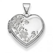 14k White Gold Polished Heart-Shaped Floral Locket