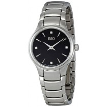 ESQ by Movado Elan Ladies Watch Stainless Steel Black Dial w/ Diamonds