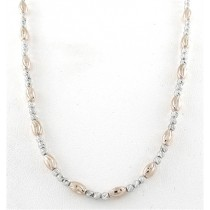 .925 Diamond Cut two tone round and oval bead necklace